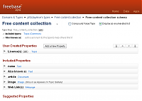 Screenshot of Freebase personal type definition, 'free content collection'