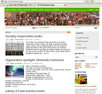 Screenshot of the Wikimedia Commons story on the iCommons front page.